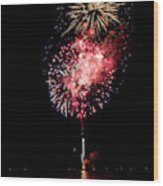 Fireworks Are Shot Off Over Lake Tahoe Wood Print