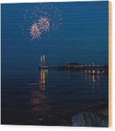 Fireworks At Clacton Wood Print