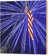 Fireworks At Iwo Jima Memorial Wood Print by Francesa Miller