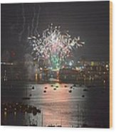 Fireworks At Night For The 4th Of July Over Fort Walton Beach From 14th Floor Balcony Wood Print