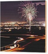 Fireworks At Sugarhouse Park Wood Print