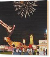Fireworks At The Carnival Wood Print