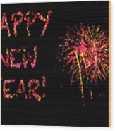 Fireworks Happy New Year In Pink Wood Print by Marianne Campolongo