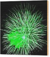 Fireworks In Green Wood Print