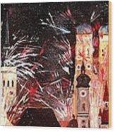 Fireworks In Munich Wood Print