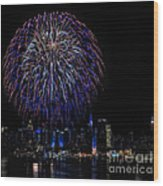Fireworks In New York City Wood Print by Susan Candelario