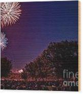 Fireworks In St. Charles Wood Print by Cindy Tiefenbrunn