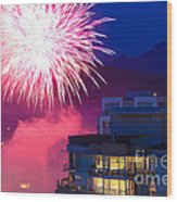 Fireworks In The City Wood Print by Nancy Harrison