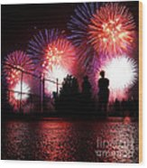Fireworks Wood Print by Nishanth Gopinathan