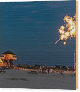 Fireworks On Ther Beach Wood Print