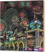 Fireworks Over Atlantic City Wood Print