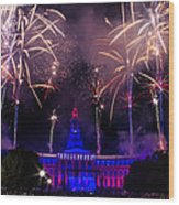Fireworks Over Denver City And County Building Wood Print by Teri Virbickis