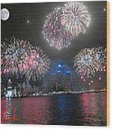 Fireworks Over Detroit Wood Print