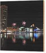 Fireworks Over Downtown Baltimore Wood Print