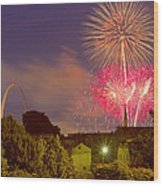 Fireworks Over St Louis Wood Print