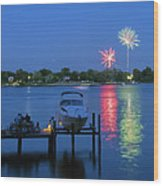 Fireworks Over Stony Creek Wood Print by Brian Wallace