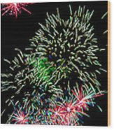 Fireworks Over The Bay Wood Print