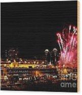 Fireworks Over The Kansas City Plaza Lights Wood Print