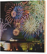 Fireworks Over The Museum Wood Print