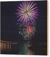 Fireworks Over The York River Wood Print