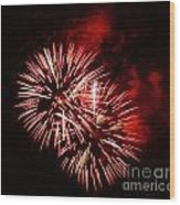 Fireworks Red-white Wood Print by Katja Zuske