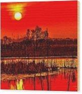 Firey Dawn Over The Marsh Wood Print