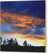 Firey Sunset Of Angel Fire Wood Print