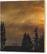 Firey Sunset Over Grants Pass Wood Print