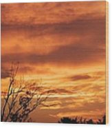 Firey Sunset Wood Print
