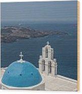 Firostefani Church On Santorini Wood Print
