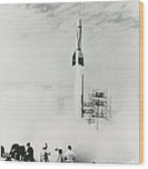 First Cape Canaveral Rocket Launch Wood Print