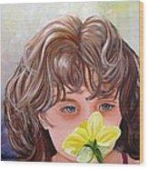First Daffodil Wood Print