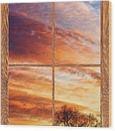 First Dawn Barn Wood Picture Window Frame View Wood Print