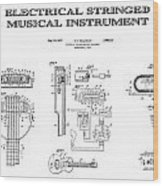 First Electric Guitar Patent Art  1937 Wood Print
