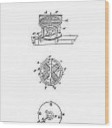 First Electric Motor Patent Art 1837 Wood Print by Daniel Hagerman