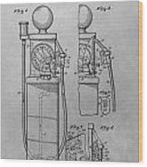 First Gas Pump Patent Drawing Wood Print