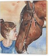 Horse Painting Of Paint Horse And Girl First Kiss Wood Print