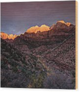 First Light 2 Zion National Park Wood Print