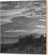 First Light At Cape Cod Beach Bw Wood Print