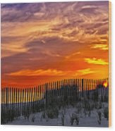 First Light At Cape Cod Beach  Wood Print