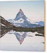 First Light On The Summit Of Matterhorn Wood Print