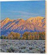 First Light On The Tetons Limited Edition Panorama Wood Print