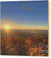 First Morning Light Striking Top Of Trees Wood Print