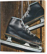 First Pair Of Ice Skates Wood Print
