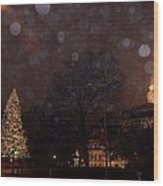 First Snow At Michigan State Capital Wood Print