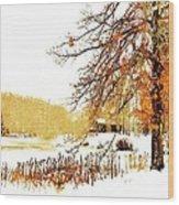 First Snow Last Leaves Wood Print by Dorothy Walker
