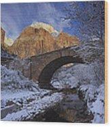 First Snow Pine Creek Wood Print