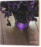 First Violets Wood Print