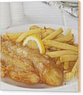 Fish And Chips Wood Print