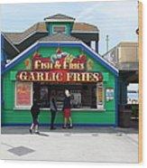 Fish And Fries At The Santa Cruz Beach Boardwalk California 5d23687 Wood Print by Wingsdomain Art and Photography
